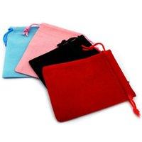 розовые сумки оптовых-7x9 см бархат Drawstring Сумка / мешок ювелирных изделий Рождество / свадебный подарок сумки черный красный розовый синий 5 Цвет Оптовая