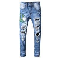 top distressed jeans großhandel-Mens Distressed Ripped Biker Jeans Slim Fit Motorrad Biker Denim für Männer Fashion Designer Hip Hop Herren Jeans Top-Qualität