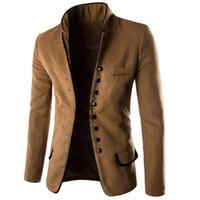 casaco de sobretudo venda por atacado-Homens novos Stand Colarinho Slim Fit Terno Botão Jacket Overcoat Blazers Tops Vestido