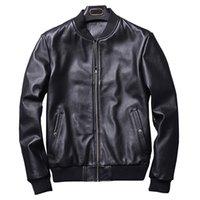erkekler koyun derisi ceketi toptan satış-2018 Sonbahar Moda Gerçek Deri Ceket Erkekler Klasik Bombacı Stil Motorcy Hakiki Deri Ceket Erkekler Siyah Koyun Yeni