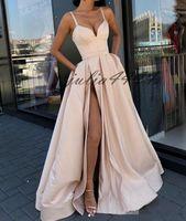 vestido zuhair murad negro flor al por mayor-Nueva Ivory Sexy Front Split Vestidos de noche Vestidos largos de fiesta Vestidos de espagueti Vestidos para ocasiones especiales 2019