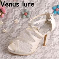 elfenbein satin hochzeit sandalen großhandel-22 Farben Elfenbein Braut Plattform Schuhe Hochzeit Gladiator Sandalen Spitze und Satin