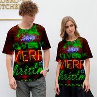 tshirt dos pares engraçados venda por atacado-Feliz Natal Engraçado Camiseta Casal Roupas Xmas Camisetas Papai Noel 3D T-Shirt Dos Desenhos Animados Tees Gráfico Partido Feliz Roupa Dos Homens