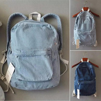 Wholesale bag blue jeans backpack for sale - Group buy New Unisex Jean Denim Backpack Rucksack School Bookbag Casual Travel Bag