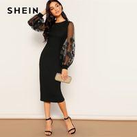 vestidos extensíveis de joelho venda por atacado-Shein preto bordado malha Inserir elástico Bishop Luva joelho Bodycon vestido Mulheres 2019 Vestidos Bainha Primavera