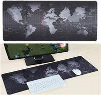 teclado de borda venda por atacado-Mapa do mundo Gaming Mouse Pad Grande Mouse Pad Gamer Grande Mouse Pad Computador Mousepad Superfície de Borracha Teclado Mesa Mat com Borda de Travamento
