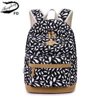 tüy tuval toptan satış-FengDong çocuk sırt çantası çocuk çantası kızlar için okul çantaları tüy baskı tuval sırt çantası laptop kitap çantası kız schoolbag için # 123881
