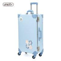 freie blumenmuster großhandel-2018 NEUE reise koffer spinner gepäck rollen floral blume probe kinder kinder koffer gepäck himmelblau kostenloser versand