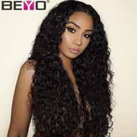 Wholesale lace remy human hair resale online - Full Lace Frontal Wig Pre Plucked Deep Part Brazilian Water Wave Lace Front Human Hair Wigs For Black Women Remy Beyo