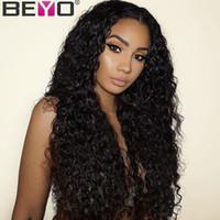 siyah kadınlar için derin peruklar toptan satış-Tam 360 Dantel Frontal Peruk Öncesi Mızraplı Derin Bölüm% 150 Brezilyalı Su Dalga Dantel Ön İnsan Saç Peruk İçin Siyah Kadınlar Remy Beyo
