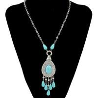 ingrosso collana orecchini blu-Boho Vintage Blue Stone dichiarazione Collana nappa Orecchini a goccia Set per le donne Gypsy Egitto Turchia Gioielli collier ethnique boheme
