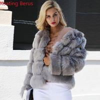 фотографии оптовых-Keating Berus Women's Fake Fur Imitation Fox Fur Winter Coat Fashion Shirt Women's Slim Elegant Warm Clothing 0616