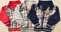 seda peinada al por mayor-Niños chaquetas a cuadros nuevos estilos para niños de manga larga a cuadros chaqueta de diseñador diseñador de la cremallera infantil niño capa outwear de alta calidad