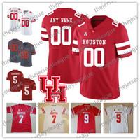 nom de cas achat en gros de-Cougars de Houston Personnalisé N'importe quel numéro N'importe quel nom Cousu Gris Rouge Blanc Cas # 7 Keenum 9 Nick Watkins Maillots de football universitaire de la NCAA