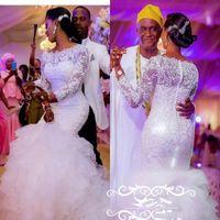длинные платья из органзы оптовых-Sheer кружева свадебные платья с длинными рукавами 3D-цветочные аппликации бисер многоуровневое Русалка юбки Белый органза плюс размер женщины свадебное платье