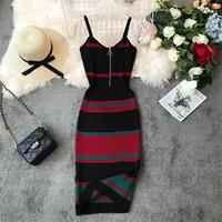 Wholesale fashion dresses resale online - New Fashion Slim Summer Striped Print Knitted Cotton Sheath Midi Dress Women Spaghetti Strap Casual Party Bodycon Vestidos
