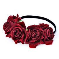 gros ornements achat en gros de-Bohême Main Floral Bandeau Grand Rose Fleur Tête De Cheveux Accessoires Femmes Filles Bridemaids Guirlande Partie Cheveux Ornements Floral