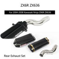 ingrosso sedile zx6r-Per 2004-2008 ZX6R ZX636 Tubo di scarico sotto al sedile Slip On 51 mm Moto Medio Collegamento centrale Nessun DB Killer Fuga modificata