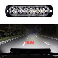 lámpara de punto blanco rojo al por mayor-2X6LED 18W Spot LED Luz intermitente Barra de trabajo Lámpara de conducción para todoterreno SUV Auto Coche Barco Camión Lámpara de señal Spot LED Light