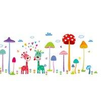decalques animais da parede dos miúdos venda por atacado-Animais dos desenhos animados decoração da parede girafa adesivos de parede para quarto de crianças decoração do quarto cogumelo árvores poster mural papel de parede decalques de parede