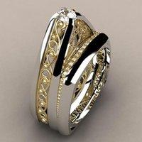 anillos de oro promesa parejas conjunto al por mayor-Hot Fashion Silver Gold Hollow Rings 2 Unids / set Hombres Mujeres Promesa Pareja Amor Anillos de dedo Alianzas de Boda de Lujo Joyería Z5M222