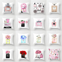 cojines de almohada personalizados al por mayor-coche impresión frasco de perfume de moda funda de almohada de tela Inicio Funda de cojín almohada del sofá al por mayor Para asignar por encargo