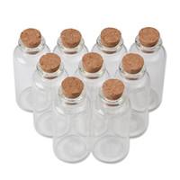 mini éprouvettes en liège achat en gros de-25 ml 30 ml minuscule mini bouteilles de tubes à essai avec des pots de bouchons de liège pour la décoration de cadeaux de mariage mini pots de récipients à épices 50pcs