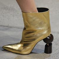 lila stiefeletten frauen großhandel-Gold lila Knöchel Frauen Stiefel Herbst Geometrie seltsame High Heels Stiefel spitz Runway T-Show kurze Botas feminina Zapatos Mujer
