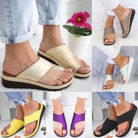 ayakkabı sandles toptan satış-Kadın Terlik Çevirme Kızlar Bayanlar Rahat Yumuşak Tanga Sandles Sandalet Büyük Ayak Ayak Düzeltme Ortopedik Ev Slaytlar Ayakkabı HH9-2136