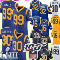 fußballtrikotstickerei großhandel-Mens 99 Aaron Donald Los Angeles Rams Jersey 30 Todd Gurley II 16 Jared Goff 32 Eric Weddle Jersey 2019 Stickerei-Fußballjerseys