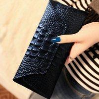carteira longa crocodilo venda por atacado-Crocodile Ms. carteira de longo bolsa de couro versão coreana do couro mulheres grandes volumes de atacado