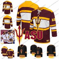 Wholesale Custom Arizona State Sun Devils Dylan Hollman Joey Daccord Maroon Red Any Name Number Black White College Hockey Stitched Jersey S XL
