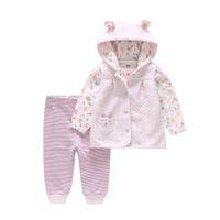 dreiteilige anzug lila weste großhandel-Dancing Spirit Butterfly Kinderkleidung Herbst 2019 New Baby's Purple Flower Weste Dreiteiliger Anzug für Neugeborene