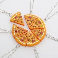 ingrosso pizza migliore-Hot new pizza fetta ciondolo amicizia collana best friends famiglia sorelle regalo pidocchi di pizza cibo spazzatura retrò funky collana WCW229