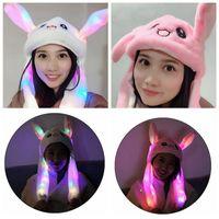bunnies şapkası toptan satış-LED Peluş Hareketli Tavşan Kulakları Şapka El Pinching Bunny Kulakları Atlama Kap Çocuk Kız Kadınlar Tatlı Sevimli Hava Yastığı Kap Parti Şapkaları CCA10994 12 adet