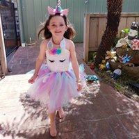 roupas para festa de aniversário venda por atacado-Bebê meninas unicórnio dress flor traje cosplay princesa dress up aniversário crianças pageant party dance outfits vestidos de noite