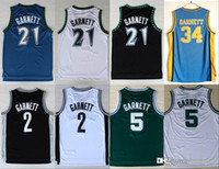 833bde1e2cf NCAA New Minnesota 21 Kevin Garnett Jersey Timberwolves 5 Fashion Rev 30 2  Shirt Uniform Black Blue White Green Pure Cotton