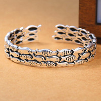 серебряные манжеты оптовых-luxury jewelry S925 sterling silver plated bracelets fishes open cuff bracleets classic for women hot fashion