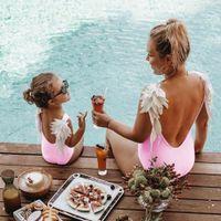 trajes de ala de bebé al por mayor-Mounchain Mom Baby Swimwear Traje de baño de una pieza Body Traje de baño para padres e hijos Wing Angel Monokini Traje de baño Traje sin espalda