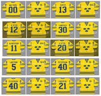 Wholesale sedin jersey for sale - Group buy Vintage Team Sweden Jerseys HENRIK LUNDQVIST MATS SUNDIN PETER FORSBERG DANIEL ALFREDSSON HENRIK SEDIN Custom Hockey