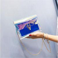 koreanischen stil kreuz körper messenger großhandel-Mode Frauen Umhängetasche Laser Transparent Umhängetaschen Koreanischen Stil Messenger PVC Wasserdichte Strandtasche 2019 Hot
