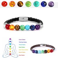 Wholesale therapy stones resale online - 7 Chakra Round Beads Natural Stone Charm Leather Bracelet for Women Men Healing Balance Therapy Yoga Jewelry Chakra Prayer