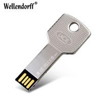 автомобильные usb-накопители оптовых-Металлический Ключ Водонепроницаемый 4 ГБ 8 ГБ 16 ГБ 32 ГБ 64 ГБ 128 ГБ USB-флеш-накопитель Ключа Автомобиля Memory Stick Флэш-Pen Drive U диск Бесплатная доставка