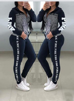 rosa trainingsanzugjacke großhandel-Womens Herbst Sport Trainingsanzüge ROSA Buchstaben Jacke Hosen 2 stücke Kleidung Sets Designer Sportliche Anzüge Für Verkauf