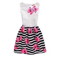 ingrosso modello di vestito da compleanno-Compleanno per ragazze Compleanno party senza maniche Regalo carino Estate Casual Girocollo modello a farfalla