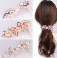 Wholesale birthday girl pin resale online - DHL Crystal Rhinestones pearl hair Clip Korean Girls leaf flower Hair Clips Hair Pins Women Accessories Barrette