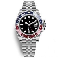 herren-armbanduhren groihandel-New Sale Herren Armbanduhr Blau Rot Keramik Lünette Edelstahl Pepsi Uhr Automatik GMT Bewegung Limitierte Uhr New Jubilee Master Montre