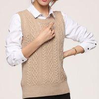 ärmellose wollweste großhandel-New Spring Frauen-beiläufige Wolle-Kaschmir-Weste Weibliche Pullunder Wollpullover O-Ansatz Weste V-Ausschnitt Cardigan Weste Top