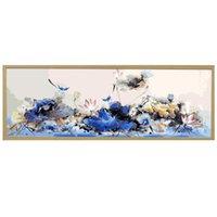 ingrosso arte pittura a olio di loto-50x150cm grande panno di lino non si sbiadice mai Lotus e uccelli Diy pittura digitale By Art parete mano moderna Pittura a olio dipinta