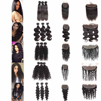 Wholesale brazilian water wave hair bundles for sale - Group buy Brazilian Deep Water Wave Virgin Hair Bundles With Closure Malaysian Indian Straight Body Wave Remy Hair Weaves With Freedom Frontal Closure